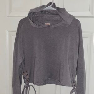 Gray Crop Hoodie With Side Laces